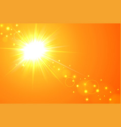 sun and lens flare yellow background vector image