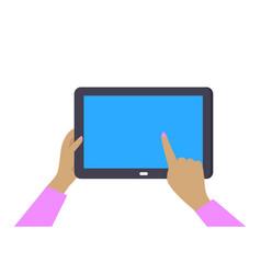 tablet gadget in womans hands vector image