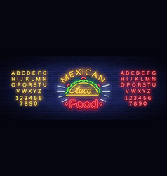 Tacos logo in neon style neon sign bright vector