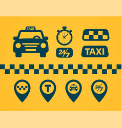 taxi icons set flat style dark icons on yellow vector image
