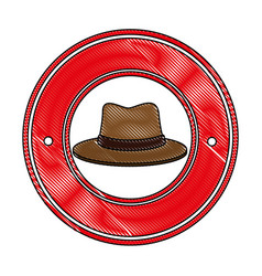 Traditional canadian hat seal stamp vector