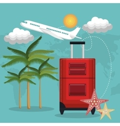 travel beach suitcase red airplane vacation design vector image