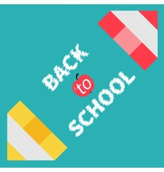 Two pencils frame Back to school card Flat design vector image