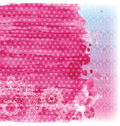 Watercolor and patterns in pink tones vector