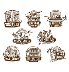Wild west american western icons vector