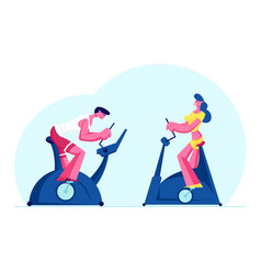 Woman and man training in gym on exercise bike vector