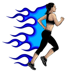 Woman athletes on running race on white background vector