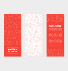 woman fashion cosmetics banner templates set with vector image