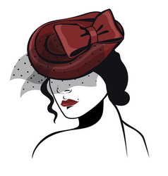 woman in a tablet hat in black and red colors vector image