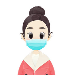 women wearing medical face mask vector image