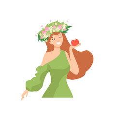 young beautiful woman with flower wreath in her vector image