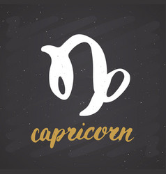 zodiac sign capricorn and lettering hand drawn vector image