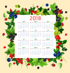 calendar 2018 of fresh berries and fruits vector image vector image