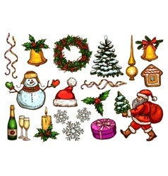 Christmas Day New Year celebration sketch set vector image vector image