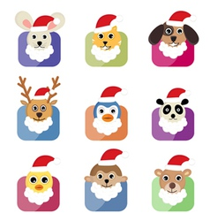 cute animal head with santa hat vector image vector image