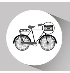 Music cassette bicycle vintage background desgin vector