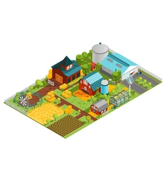 Rural Farm Isometric Composition vector image vector image