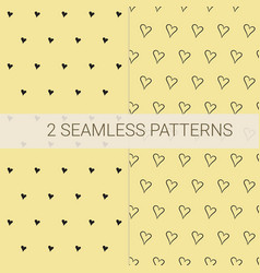 set of 2 seamless patterns in black and yellow vector image vector image