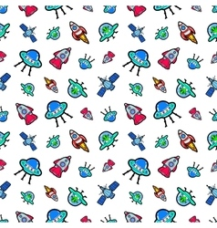 Space ships rocket and satellite seamless pattern vector