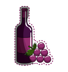 sticker bottle of wine with bunch of grapes icon vector image vector image