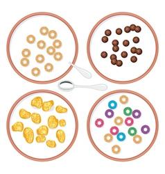 Breakfast wholegrain cereal in milk vector