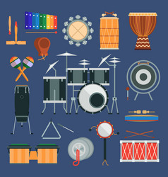 drum percussion musical instruments flat vector image vector image