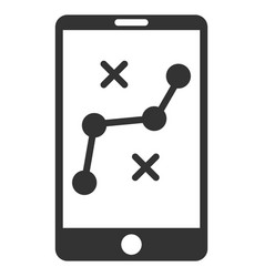 Mobile navigation route flat icon vector