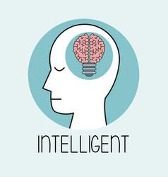 profile human head brain intelligent vector image vector image