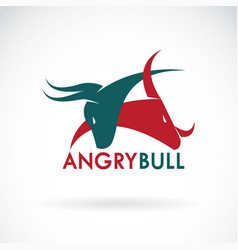 angry bull on a white background logo animal vector image