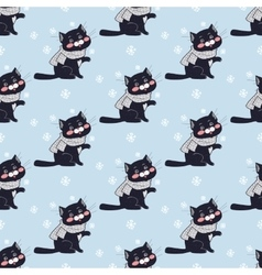 Funny Cats Seamless Pattern in Flat Design vector image vector image
