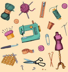 pattern with sketches of sewing and knitting vector image