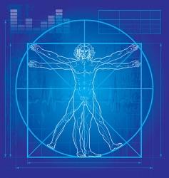 Vitruvian man blueprint version vector image