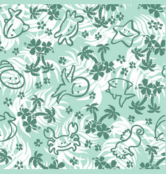 Cute fishes and palms with leaves background vector