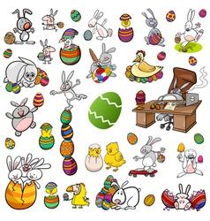 easter characters cartoon set vector image