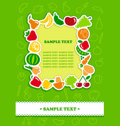 framework from icons of vegetables and fruit vector image vector image
