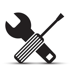 Screwdriver and Wrench Icons Isolated on White vector image vector image