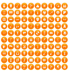100 street festival icons set orange vector