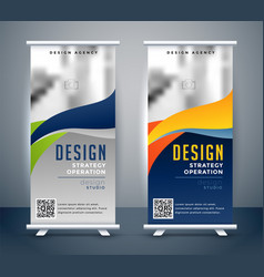Abstract roll up banner standee design vector