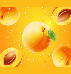 apricot in juice orange background vector image
