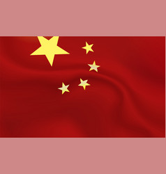 Background china flag in folds red banner vector