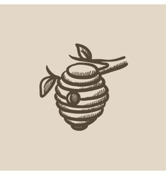Bee hive sketch icon vector image
