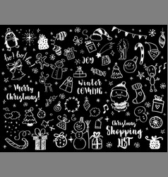 big set of christmas design element in doodle vector image