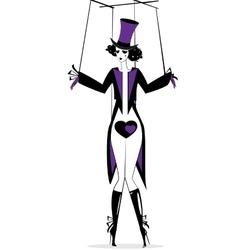 Black purple hand puppet vector