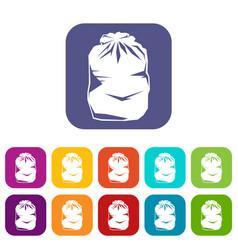Black trash bag icons set vector