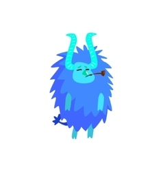 Blue Furry Childish Monster vector