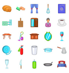 Boarding house icons set cartoon style vector
