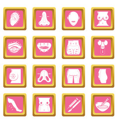 Body parts icons set pink square vector