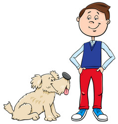 boy with cute dog cartoon vector image