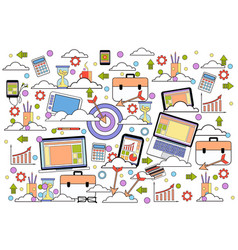 business icons set on white background marketing vector image
