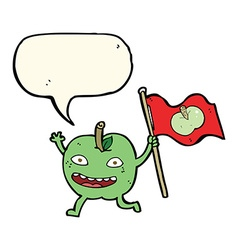 cartoon apple with flag with speech bubble vector image